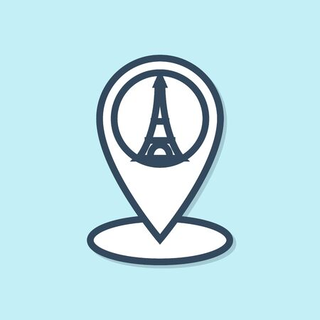 Blue line Map pointer with Eiffel tower icon isolated on blue background. France Paris landmark symbol. Vector Illustration 向量圖像