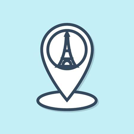 Blue line Map pointer with Eiffel tower icon isolated on blue background. France Paris landmark symbol. Vector Illustration Illustration