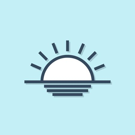 Blue line Sunset icon isolated on blue background. Vector Illustration Çizim
