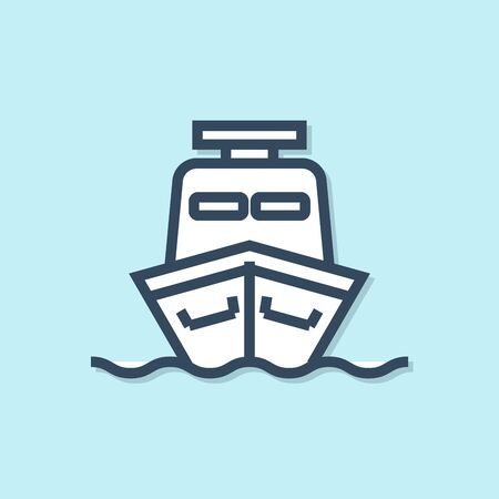 Blue line Ship icon isolated on blue background. Vector Illustration