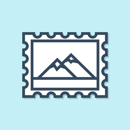 Blue line Postal stamp and Mountains icon isolated on blue background. Vector Illustration Иллюстрация