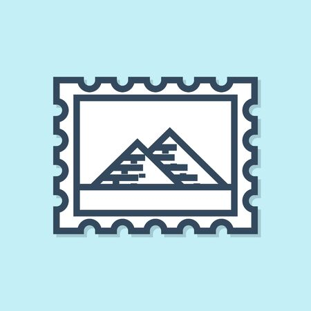 Blue line Postal stamp and Egypt pyramids icon isolated on blue background. Vector Illustration Ilustração