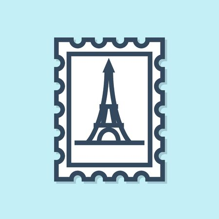 Blue line Postal stamp and Eiffel tower icon isolated on blue background. Vector Illustration