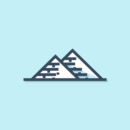 Blue line Egypt pyramids icon isolated on blue background. Symbol of ancient Egypt. Vector Illustration