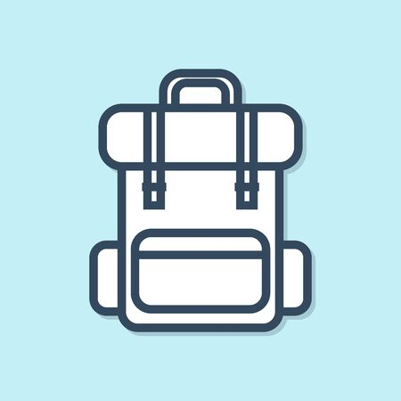 Blue line Hiking backpack icon isolated on blue background. Camping and mountain exploring backpack. Vector Illustration