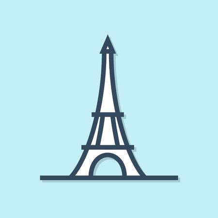 Blue line Eiffel tower icon isolated on blue background. France Paris landmark symbol. Vector Illustration