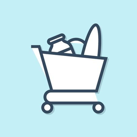 Blue line Shopping cart and food icon isolated on blue background. Food store, supermarket. Vector Illustration