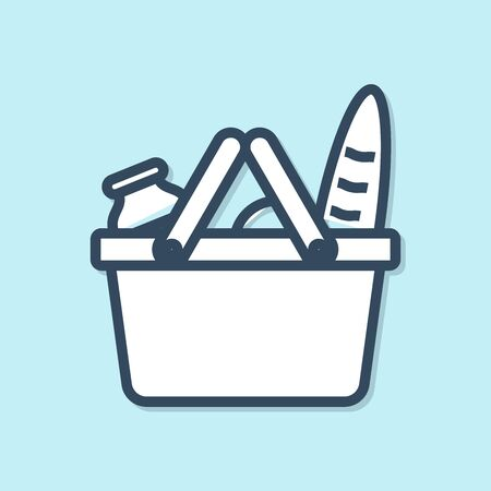 Blue line Shopping basket and food icon isolated on blue background. Food store, supermarket. Vector Illustration