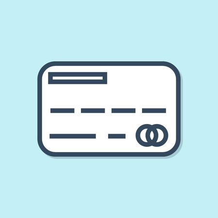 Blue line Credit card icon isolated on blue background. Online payment. Cash withdrawal. Financial operations. Shopping sign. Vector Illustration