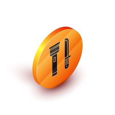 Isometric Flashlight and knife icon isolated on white background. Orange circle button. Vector Illustration Stock Illustratie