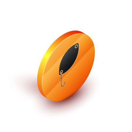 Isometric Fishing spoon icon isolated on white background. Fishing baits in shape of fish. Fishing tackle. Orange circle button. Vector Illustration