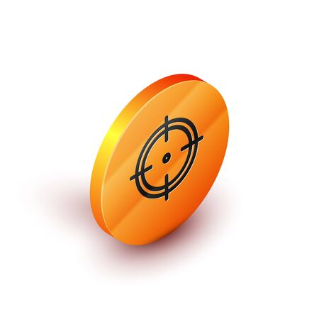 Isometric Target sport for shooting competition icon isolated on white background. Clean target with numbers for shooting range or shooting. Orange circle button. Vector Illustration
