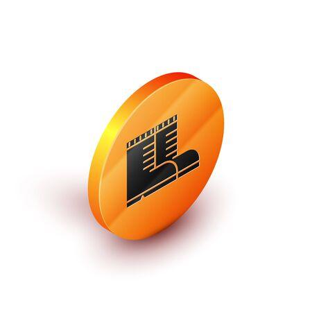 Isometric Hunter boots icon isolated on white background. Orange circle button. Vector Illustration Illustration