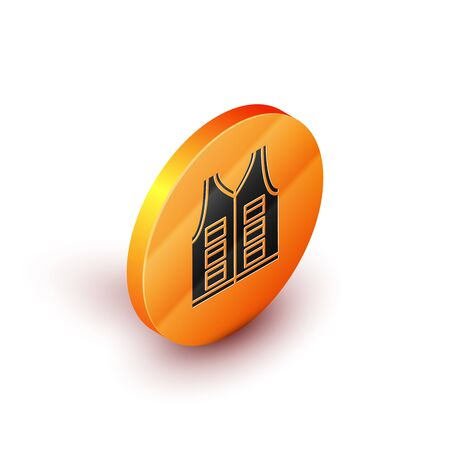 Isometric Fishing jacket icon isolated on white background. Fishing vest. Orange circle button. Vector Illustration