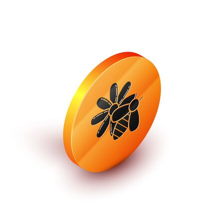Isometric Bee and flower icon isolated on white background. Sweet natural food. Honeybee or apis with wings symbol. Flying insect. Orange circle button. Vector Illustration