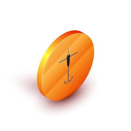 Isometric Fishing hook and float icon isolated on white background. Fishing tackle. Orange circle button. Vector Illustration