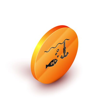 Isometric Fishing hook under water with fish icon isolated on white background. Fishing tackle. Orange circle button. Vector Illustration