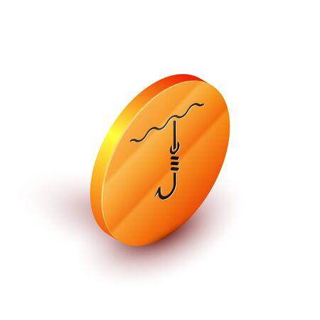 Isometric Fishing hook under water icon isolated on white background. Fishing tackle. Orange circle button. Vector Illustration  イラスト・ベクター素材