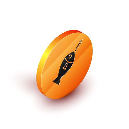 Isometric Fish on hook icon isolated on white background. Orange circle button. Vector Illustration