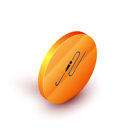 Isometric Fishing line with hook and float icon isolated on white background. Fishing tackle. Orange circle button. Vector Illustration