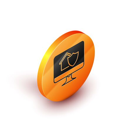Isometric Computer monitor with house under protection icon isolated on white background. Protection, safety, security, protect, defense concept. Orange circle button. Vector Illustration