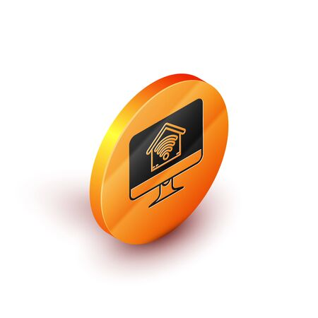 Isometric Computer monitor with smart home with wifi icon isolated on white background. Remote control. Orange circle button. Vector Illustration