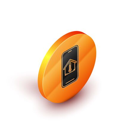 Isometric Mobile phone with house temperature icon isolated on white background. Thermometer icon. Orange circle button. Vector Illustration