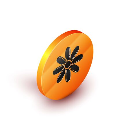 Isometric Flower icon isolated on white background. Sweet natural food. Orange circle button. Vector Illustration Ilustração