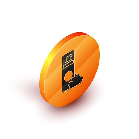 Isometric Shaving gel foam icon isolated on white background. Shaving cream. Orange circle button. Vector Illustration