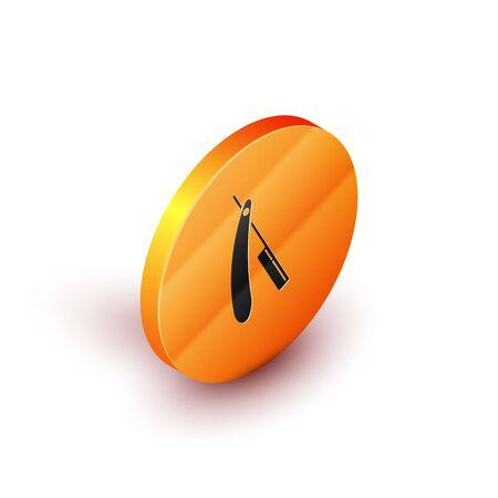 Isometric Straight razor icon isolated on white background. Barbershop symbol. Orange circle button. Vector Illustration 写真素材 - 129823908