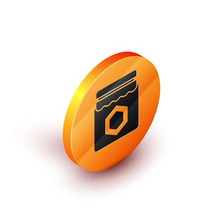 Isometric Jar of honey icon isolated on white background. Food bank. Sweet natural food symbol. Orange circle button. Vector Illustration