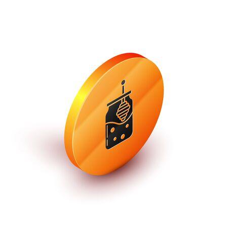 Isometric Jar of honey and honey dipper stick icon isolated on white background. Food bank. Sweet natural food symbol. Honey ladle. Orange circle button. Vector Illustration Illusztráció