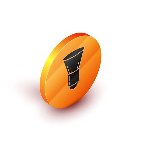 Isometric Shaving brush icon isolated on white background. Barbershop symbol. Orange circle button. Vector Illustration 写真素材 - 129824014