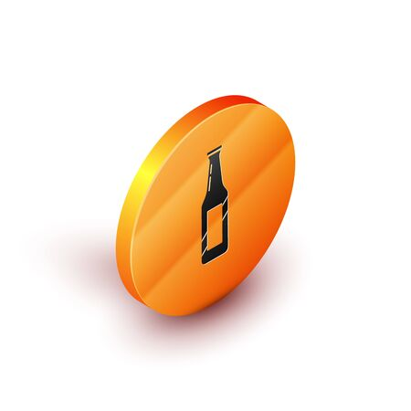 Isometric Beer bottle icon isolated on white background. Orange circle button. Vector Illustration