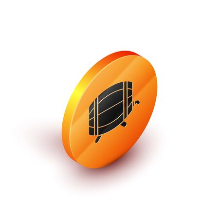 Isometric Wooden barrel on rack with stopcock icon isolated on white background. Orange circle button. Vector Illustration Illustration