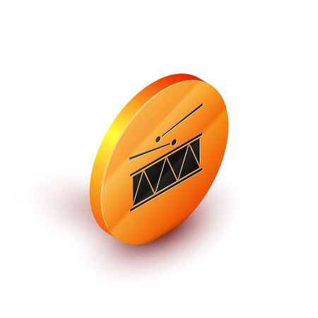 Isometric Musical instrument drum and drum sticks icon isolated on white background. Orange circle button. Vector Illustration
