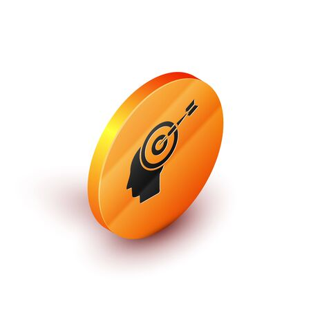 Isometric Head hunting concept icon isolated on white background. Business target or Employment sign. Human resource and recruitment for business. Orange circle button. Vector Illustration