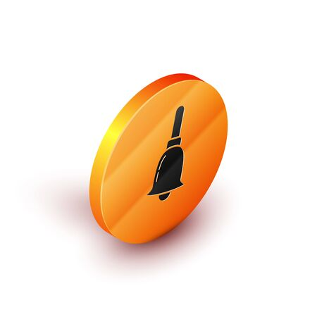 Isometric Ringing bell icon isolated on white background. Alarm symbol, service bell, handbell sign, notification symbol. Orange circle button. Vector Illustration
