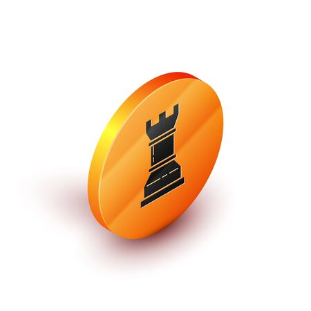 Isometric Business strategy icon isolated on white background. Chess symbol. Game, management, finance. Orange circle button. Vector Illustration