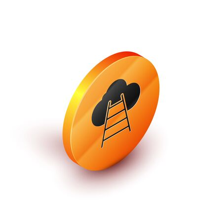 Isometric Ladder leading to cloud icon isolated on white background. Stairs leading to the cloud. Orange circle button. Vector Illustration