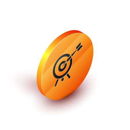 Isometric Target with arrow icon isolated on white background. Dart board sign. Archery board icon. Dartboard sign. Business goal concept. Orange circle button. Vector Illustration