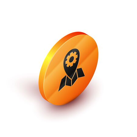 Isometric Location job icon isolated on white background. Orange circle button. Vector Illustration