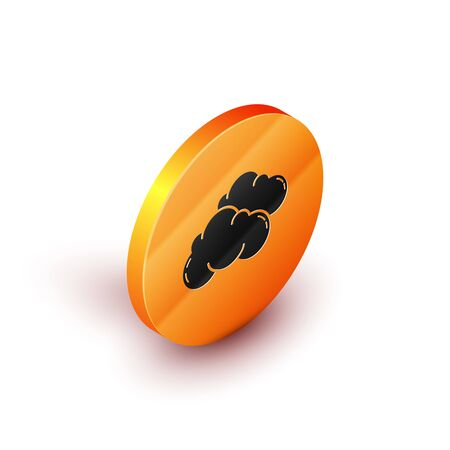 Isometric Cloud icon isolated on white background. Orange circle button. Vector Illustration