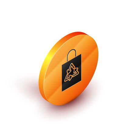 Isometric Plastic bag with recycle icon isolated on white background. Bag with recycling symbol. Orange circle button. Vector Illustration