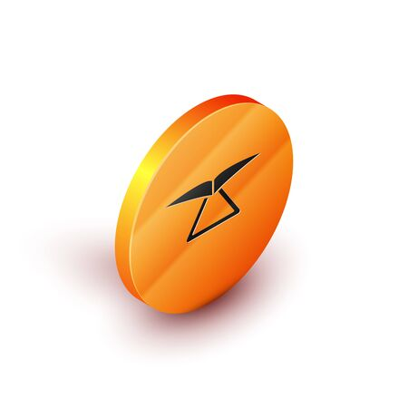 Isometric Hang glider icon isolated on white background. Extreme sport. Orange circle button. Vector Illustration Иллюстрация