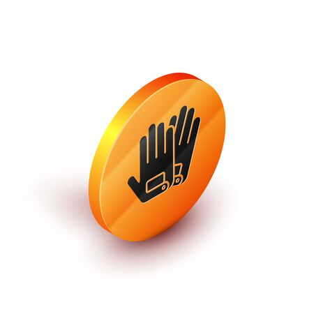 Isometric Gloves icon isolated on white background. Extreme sport. Sport equipment. Orange circle button. Vector Illustration Иллюстрация