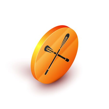 Isometric Crossed paddle icon isolated on white background. Paddle boat oars. Orange circle button. Vector Illustration Çizim