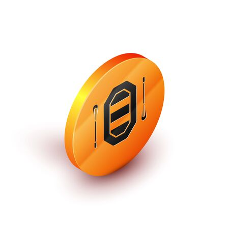Isometric Rafting boat icon isolated on white background. Inflatable boat with paddles. Water sports, extreme sports, holiday, vacation. Orange circle button. Vector Illustration
