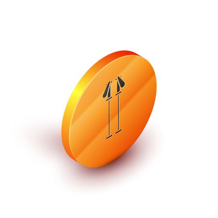 Isometric Ski poles icon isolated on white background. Extreme sport. Skiing equipment. Winter sports icon. Orange circle button. Vector Illustration