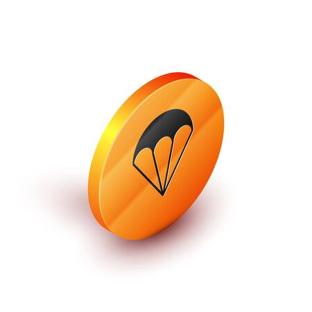 Isometric Parachute icon isolated on white background. Extreme sport. Sport equipment. Orange circle button. Vector Illustration